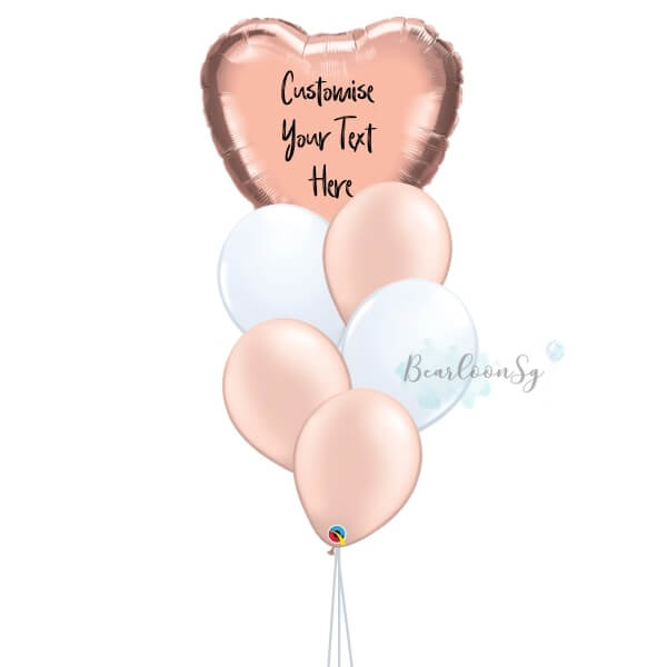 [Balloon Bouquet] – I Heart You – [Rose gold & White]