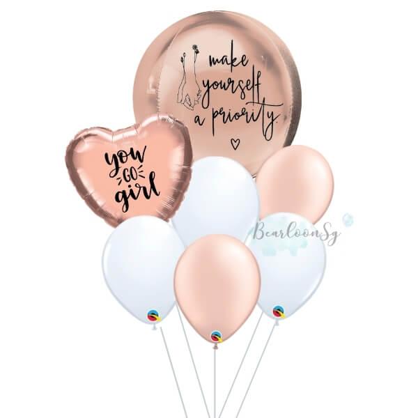 Rose Gold Orbz Balloon Bouquet