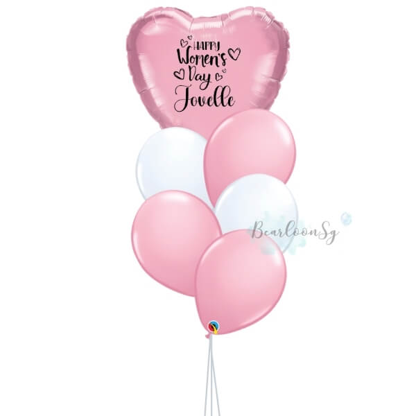 [Balloon Bouquet] – I Heart You – [Pink & White]