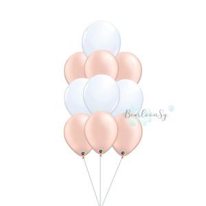 Rose gold & White Latex Balloon Cluster