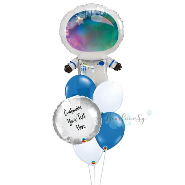 Iridescent Astronaut Personalised Balloon Bouquet
