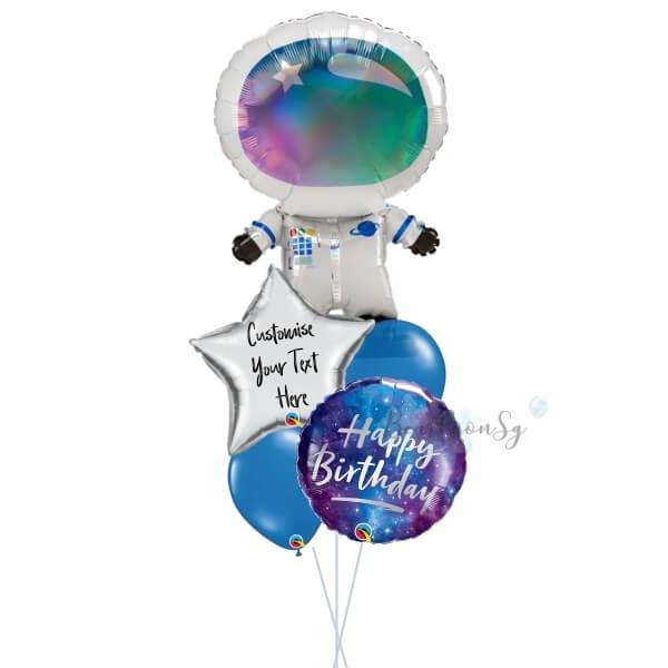 [Supershape] Iridescent Astronaut Galaxy Balloon Bouquet