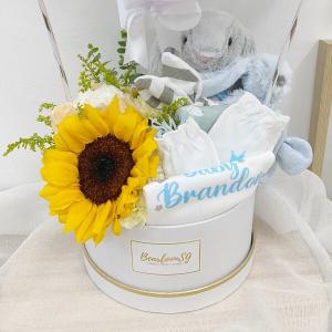 Newborn Hamper with Fresh Flowers (BOY)