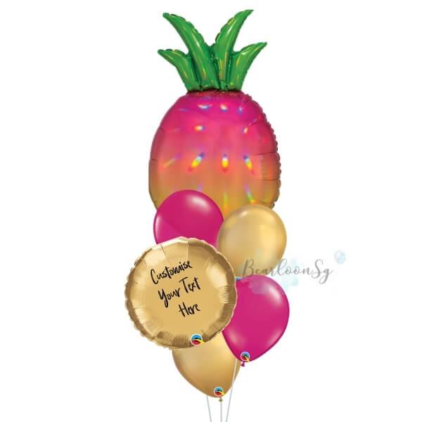 Iridescent Pineapple Personalised Balloon Bouquet