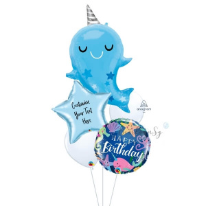[Supershape] Baby Narwhal Birthday Balloon Bouquet