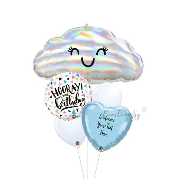 [Supershape] Iridescent Cloud Birthday Balloon Bouquet