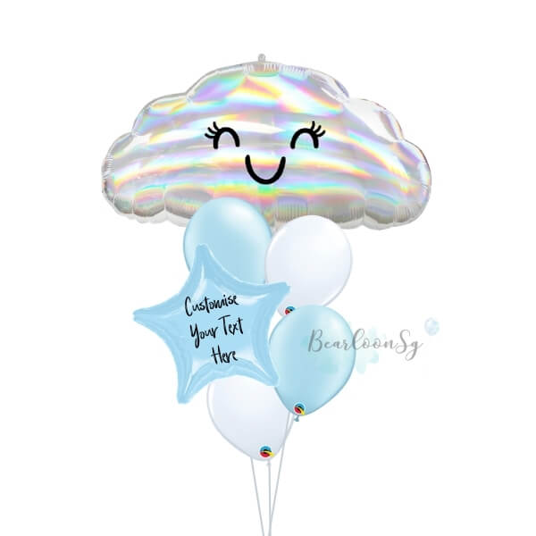 Iridescent Cloud Personalised Balloon Bouquet