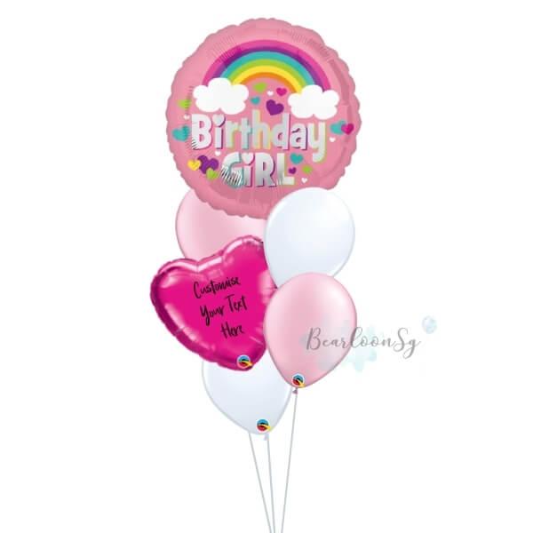 Rainbow Birthday Girl Balloon Bouquet