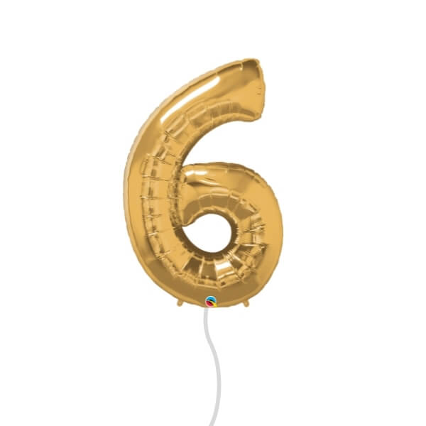 Number Foil Balloon (6 Gold)