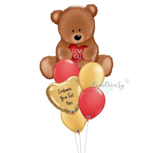 I Love You Teddy Personalised Balloon Bouquet
