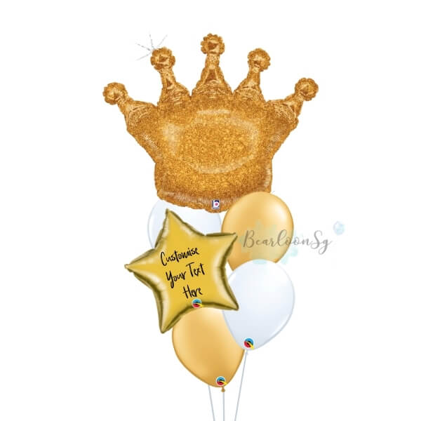 Glittering Gold Crown Personalised Balloon Bouquet