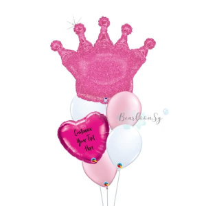 Glittering Pink Crown Personalised Balloon Bouquet