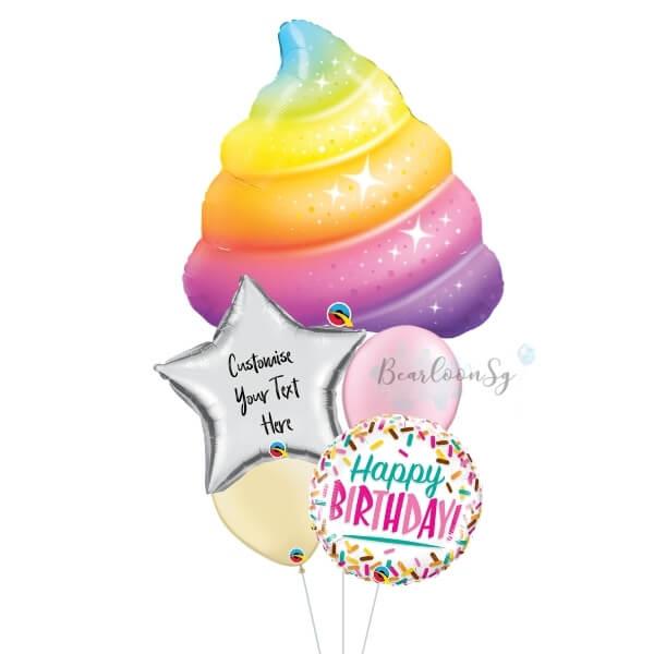 [Supershape] Sparkle Rainbow Poop Birthday Balloon Bouquet