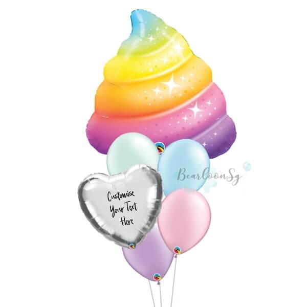 Sparkle Rainbow Poop Personalised Balloon Bouquet