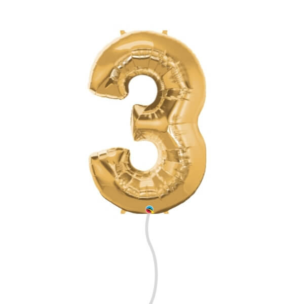 Number Foil Balloon (3 Gold)