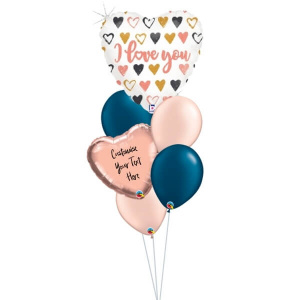 Rose Gold Hearts I Love You Balloon Bouquet