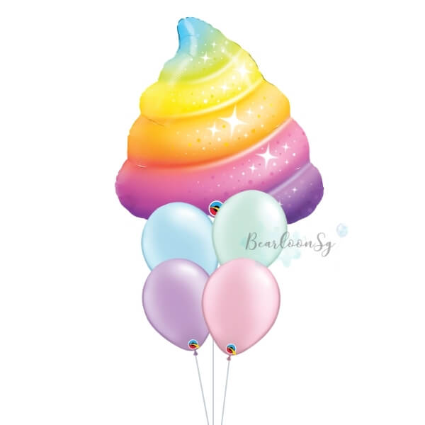 [Supershape] Sparkle Rainbow Poop Balloon Bouquet