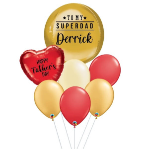 [Father's Day] Red& Gold Orbz Balloon Bouquet