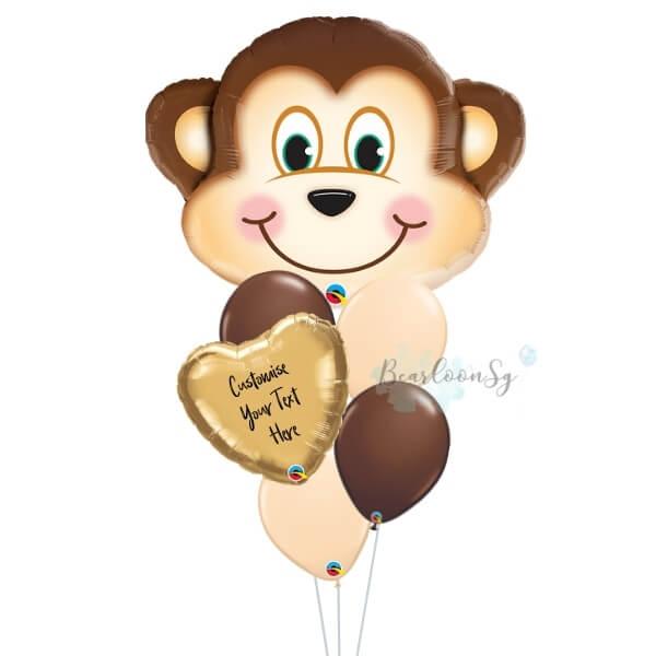Personalised Mischievous Monkey Balloon Bouquet