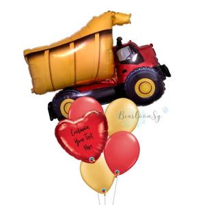Dump Truck Personalised Balloon Bouquet
