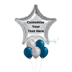 Silver Magnificent Star Balloon Bouquet