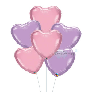 Metallic Pink & Lilac Heart Foil Balloon