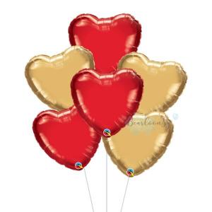 Metallic Red & Gold Heart Foil Balloon