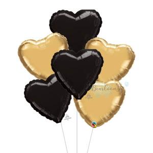Metallic Black & Gold Heart Foil Balloon