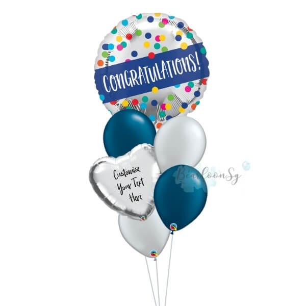Congratulations Silver Dots Balloon Bouquet