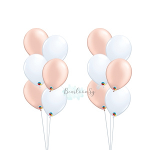 Metallic Rose Gold & White Latex Balloon Bouquet