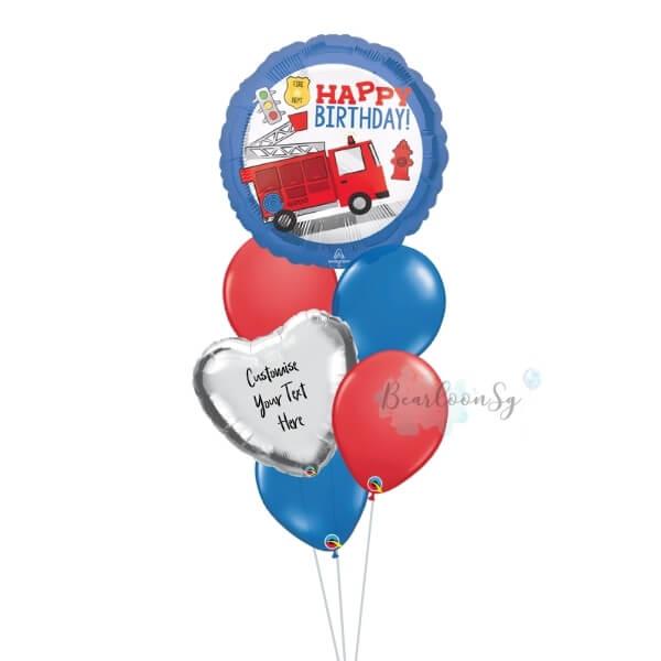 Fire Truck Happy Birthday Balloon Bouquet