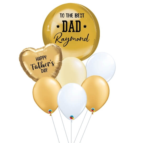 [Father's Day] White & Gold Orbz Balloon Bouquet