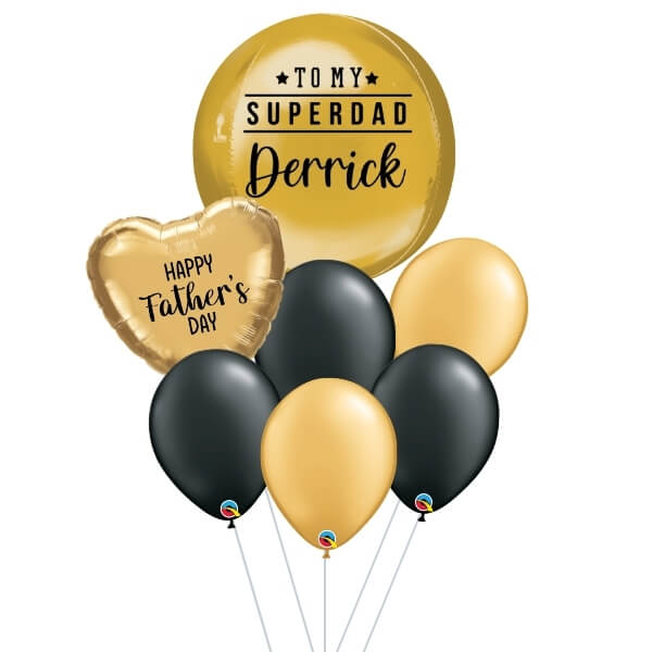 [Father's Day] Black & Gold Orbz Balloon Bouquet
