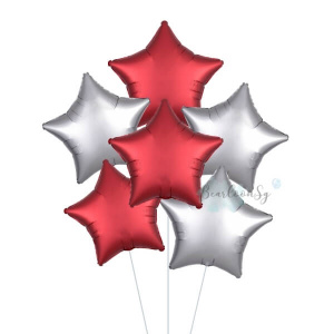 Satin Luxe Silver & Red Star Foil Balloon Bouquet