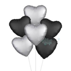 Satin Luxe Silver & Black Heart Foil Balloon Bouquet