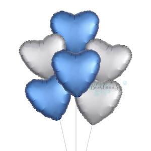 Satin Luxe Silver & Azure Heart Foil Balloon Bouquet