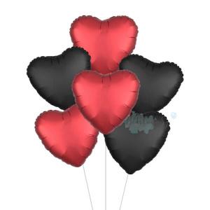 Satin Luxe Red & Black Heart Foil Balloon Bouquet