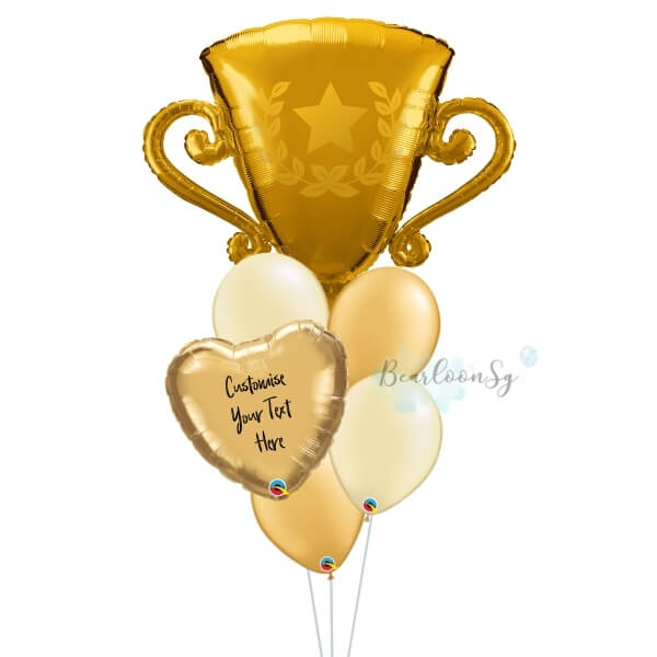 Golden Trophy Personalised Balloon Bouquet