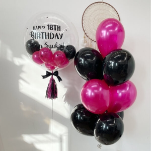 Black & Fuchsia Personalised & Cluster Balloon Package