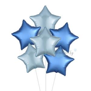 Satin Luxe Azure & Blue Star Foil Balloon Bouquet