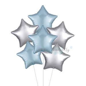 Satin Luxe Silver & Blue Star Foil Balloon Bouquet