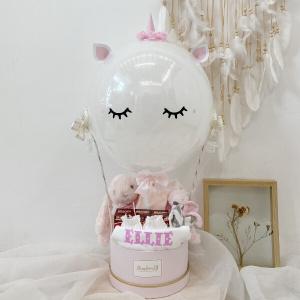 3D White Filled Unicorn Newborn Hamper With Birdnest