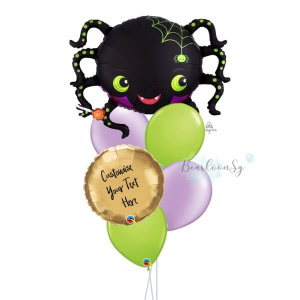 [Halloween] Satin Infused Spider Personalised Balloon Bouquet