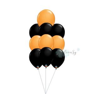 Black & Orange Latex Balloon Cluster