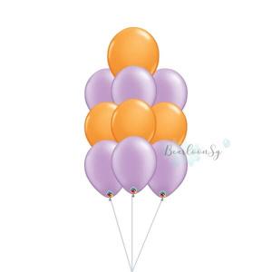 Purple & Orange Latex Balloon Cluster