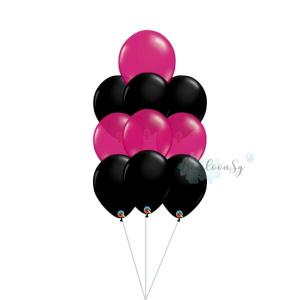 Black & Fuchsia Latex Balloon Cluster