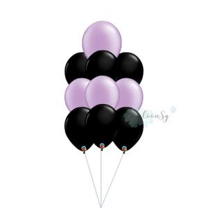 Purple & Black Latex Balloon Cluster