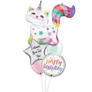 [Supershape] Starry Caticorn Birthday Balloon Bouquet