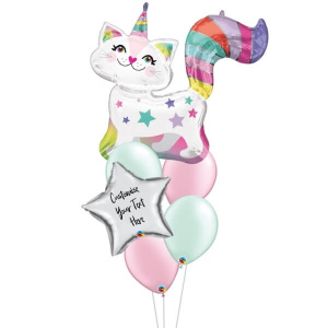 [Supershape] Starry Caticorn Personalised Balloon Bouquet