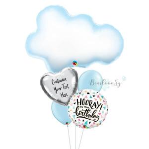 Fluffy Cloud Birthday Balloon Bouquet